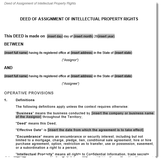 """ip assignment agreement Marathon oil co, the federal circuit held that an employee agreement stating  that an employee """"hereby assign[s]"""" all """"intellectual property"""" is."""