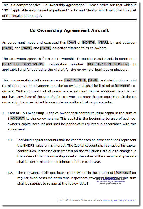 Co Ownership Agreement Sample