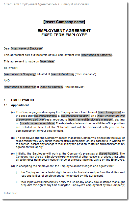 fixed term employment employee contract