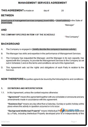 sample management services agreement