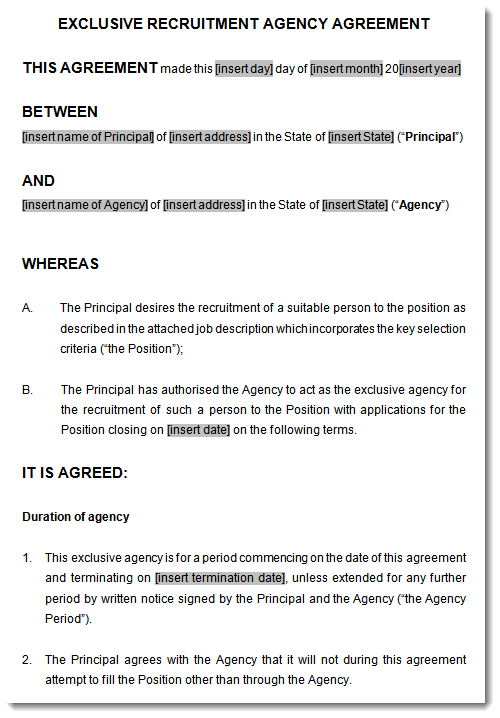 Recruitment Or Employment Agency Agreement Template