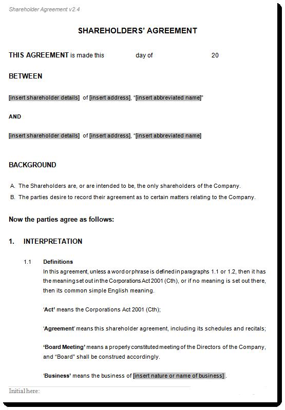 Shareholders Agreement Template